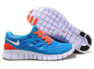 Shopping en ligne Nike Free Run 2 Femme Chlorine bleu blanche noir Total Orange