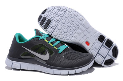 Shopping en ligne Nike Free Run 3 Homme Running Chaussures Anthracite nouveau vert argent