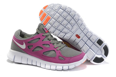 Shopping en ligne Nike Lady Free Run 2 Tumbled Gris Vivid Grape Total Orange blanche