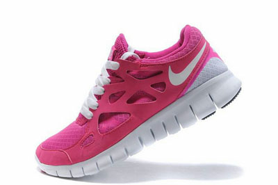 authentique Hot rose blanche Nike Free Run 2 Femme Running Chaussures