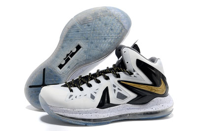 authentique LeBron 10 Elite blanche noir