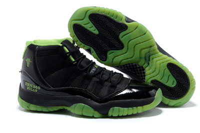pas cher Air Jordan 11 Neon vert Chicago Bulls Custom 2013 Playoff
