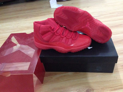 pas cher Air Jordan 11 rouge Custom