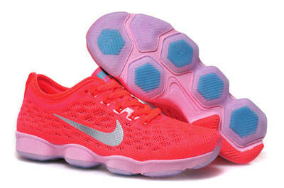 pas cher Nike Flyknit Zoom Agility Femme rose Fluorescence rouge