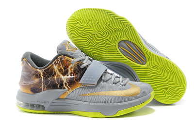soldé Nike KD 7 Struck By Lightning Gris Custom Chaussures