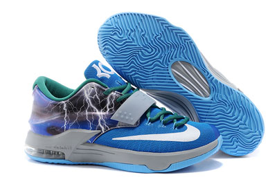 soldé Nike KD 7 Struck By Lightning bleu Custom Chaussures