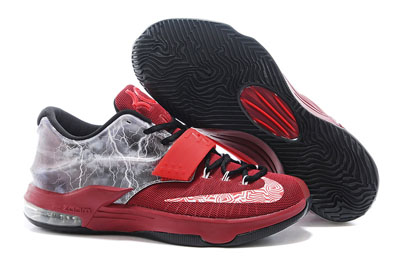 soldé Nike KD 7 Struck By Lightning rouge Custom Chaussures